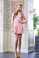 Платье с оборкой ФЛЕР розовое