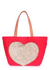Жіноча повсякденна коттоновая сумка червона POOLPARTY