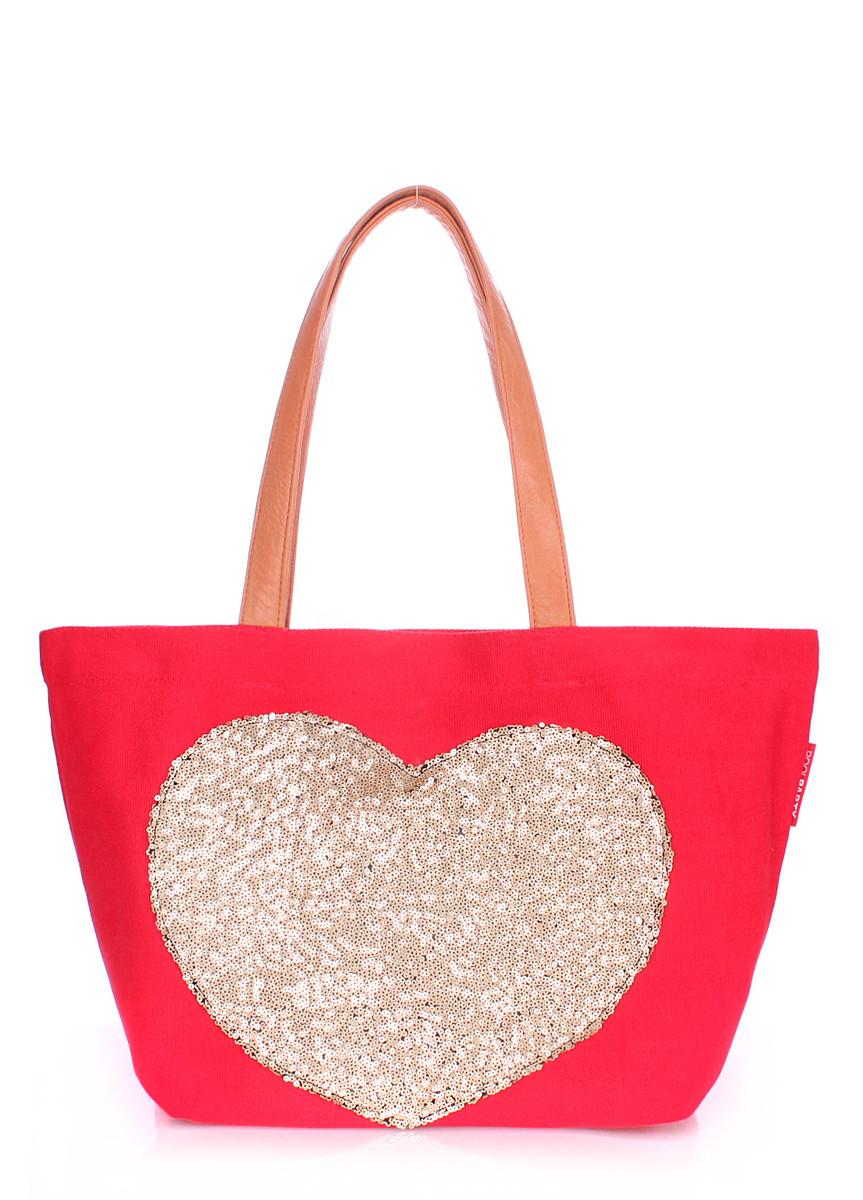 Женская повседневная коттоновая сумка POOLPARTY красная