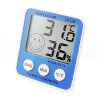 Цифровой термометр гигрометр DC-108, питание от батарейки, ж/к дисплей, min и max значение, дизайн