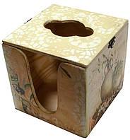 Салфетница квадратная деревянная Оливки