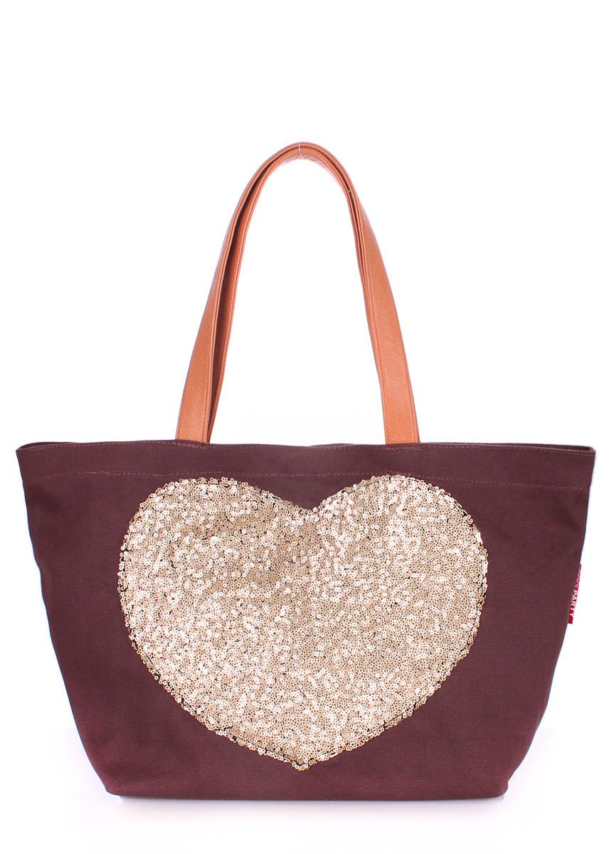 Женская повседневная коттоновая сумка POOLPARTY коричневая