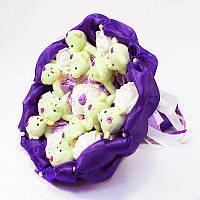 Букет из игрушек Мишки 11 фиолетовый
