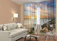 """ФотоШторы """"Море на закате"""" 2,5м*2,9м (2 полотна по 1,45м), тесьма"""