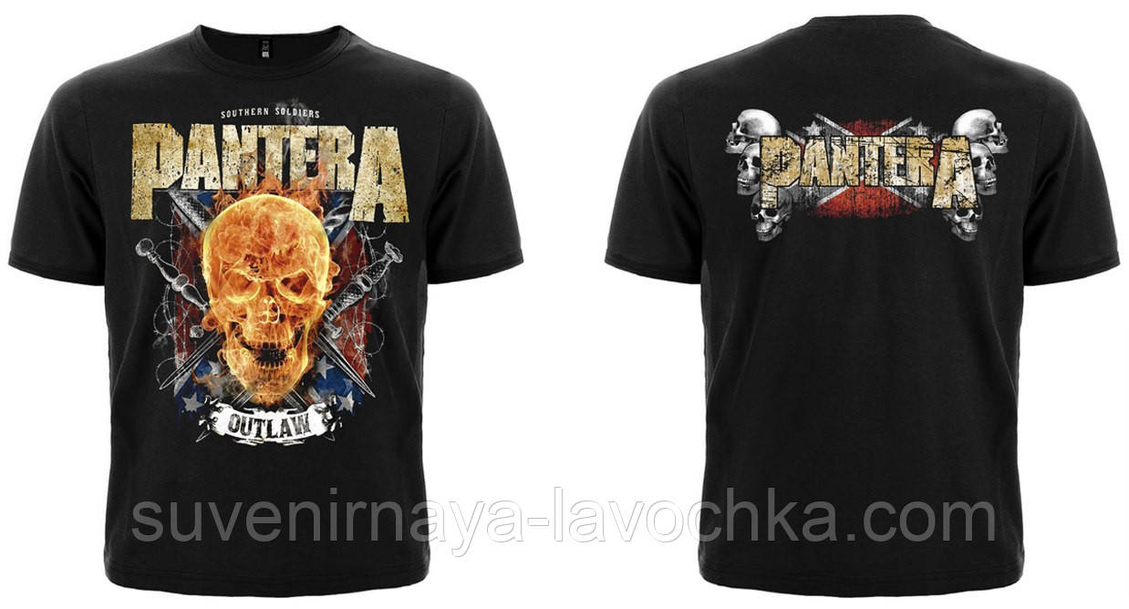 Рок футболка Pantera (flamming skull)