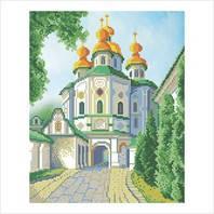 """Ткань с печатью для вышивки бисером """"Церковь Всех Святых"""" (Код: Т-0296)"""