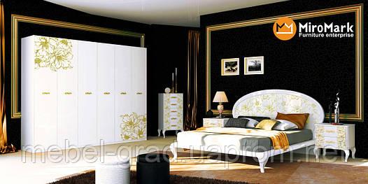 купить спальня Pionia пиония Miromark белый глянец золото недорого