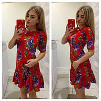 Женское платье с рюшем цветочный принт