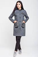 Серое молодежное демисезонное  пальто  Нью-Йорк  Leo Pride 42-48 размеры