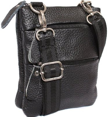 Кожаная мужская сумка 300149, черная
