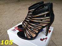 Женские босоножки на каблуке с лямочками цвет черный, 40р.