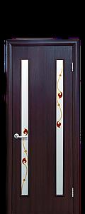 Дверь межкомнатная ВЕРА СО СТЕКЛОМ САТИН И РИСУНКОМ Р4 Экошпон