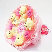 Букет из игрушек Мишки 5 розовые с розами