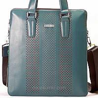 Мужская сумка на плечо и в руки Kabinias кожа темно - голубого цвета, фото 1