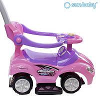 Детская машинка-каталка с ручкой Sun Baby Mega Car Pink