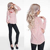 Стильная розовая шифоновая блузка в полоску с вышивкой. Арт-9820/47