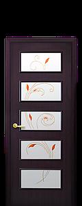 Дверь межкомнатная ЕВА СО СТЕКЛОМ САТИН И РИСУНКОМ Р2 Экошпон