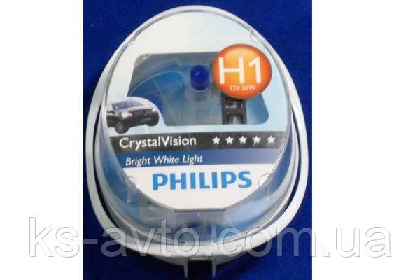 Лампа накаливания H1 12V 55W P14,5s Cristal Vision + 2x W5W 4300K (пр-во Philips) | 12258CVSM