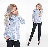 Стильная голубая  шифоновая блузка в полоску с вышивкой. Арт-9820/47