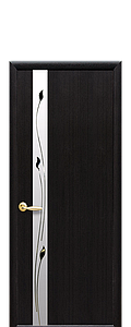 Дверь межкомнатная ЗЛАТА СО СТЕКЛОМ САТИН И РИСУНКОМ Р1 ПВХ DeLuxe