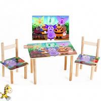 Детский Набор столик и два цветных стульчика Лунтик Арт. 063