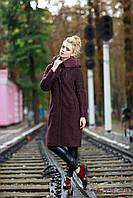 Ультрамодное пальто женское весна-осень 2017 цвет марсала, размер 42-52