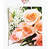 Подарочный пакет  СРЕДНИЙ КВАДРАТ 21х25х8 Букет роз