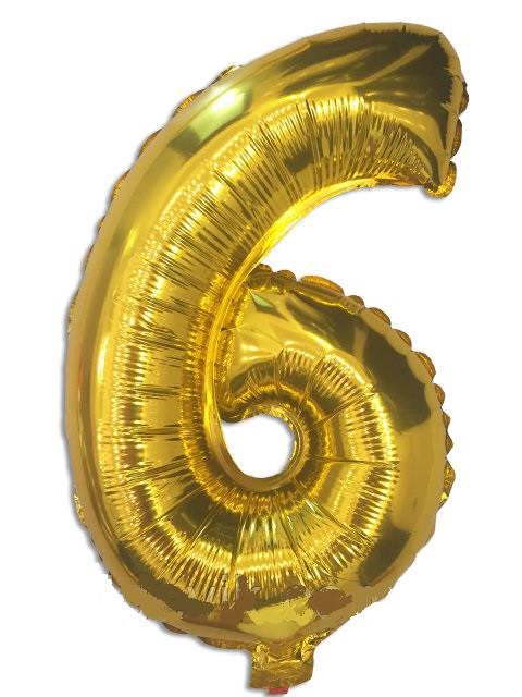 Воздушный шар фольгированный золотой, цифра 6