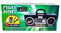 Акустика портативная. Колонка-радиоприемник Opera OP-7701, встроенный аккумулятор, часы, будильник.