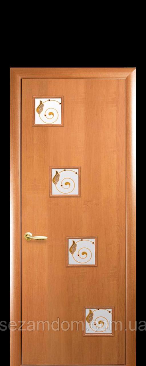 Дверь межкомнатная РОНДА СО СТЕКЛОМ САТИН И РИСУНКОМ Финиш бумага