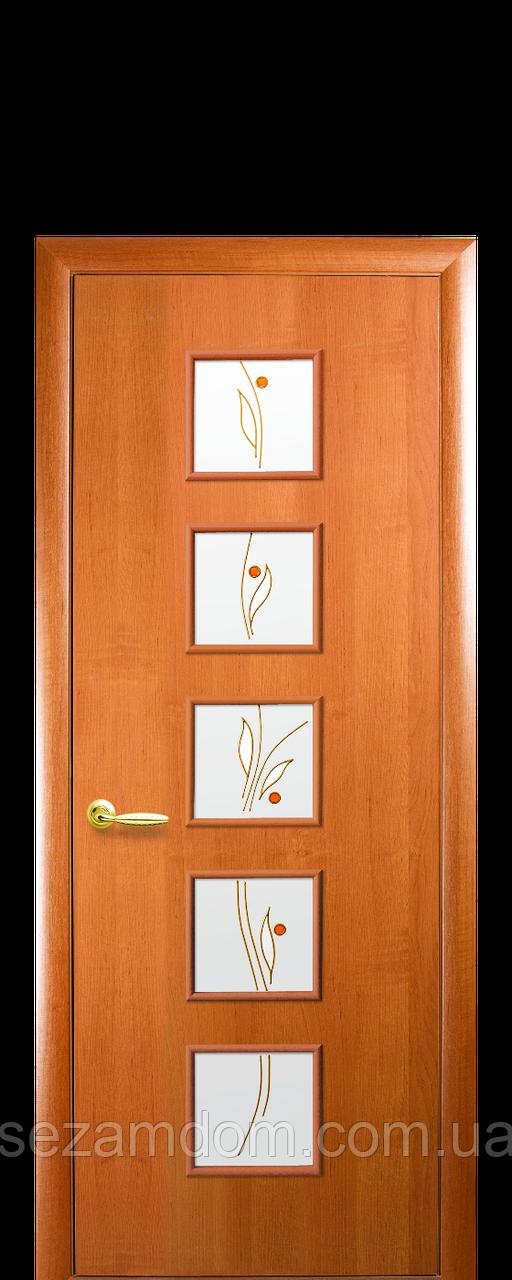 Дверь межкомнатная ФОРА СО СТЕКЛОМ САТИН И РИСУНКОМ Финиш бумага