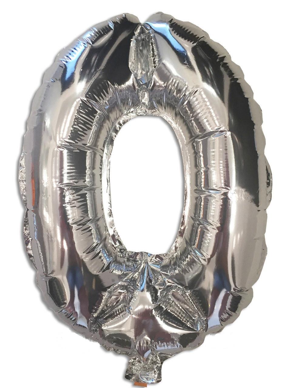 Воздушный шар фольгированный серебряный, цифра 0