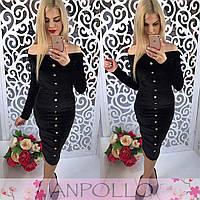 Женское красивое платье бархат с пуговицами (3 цвета)