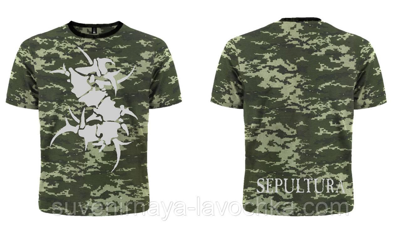 Футболка Sepultura (logo) (пиксельный камуфляж)