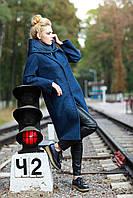 Модное пальто женское двойка 2017 цвет глубокий синий, размер 42-52