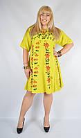 Платье салатовое, роспись - ручной работы, до 58 р-ра