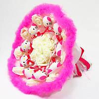 Букет из игрушек Котики 11 малино-розовый с боа