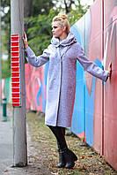 Серое пальто женское ниже колена 2017 , размер 42-52