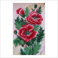 """Ткань с печатью для вышивки бисером """"Садовые маки"""" (Код: Т-0390)"""