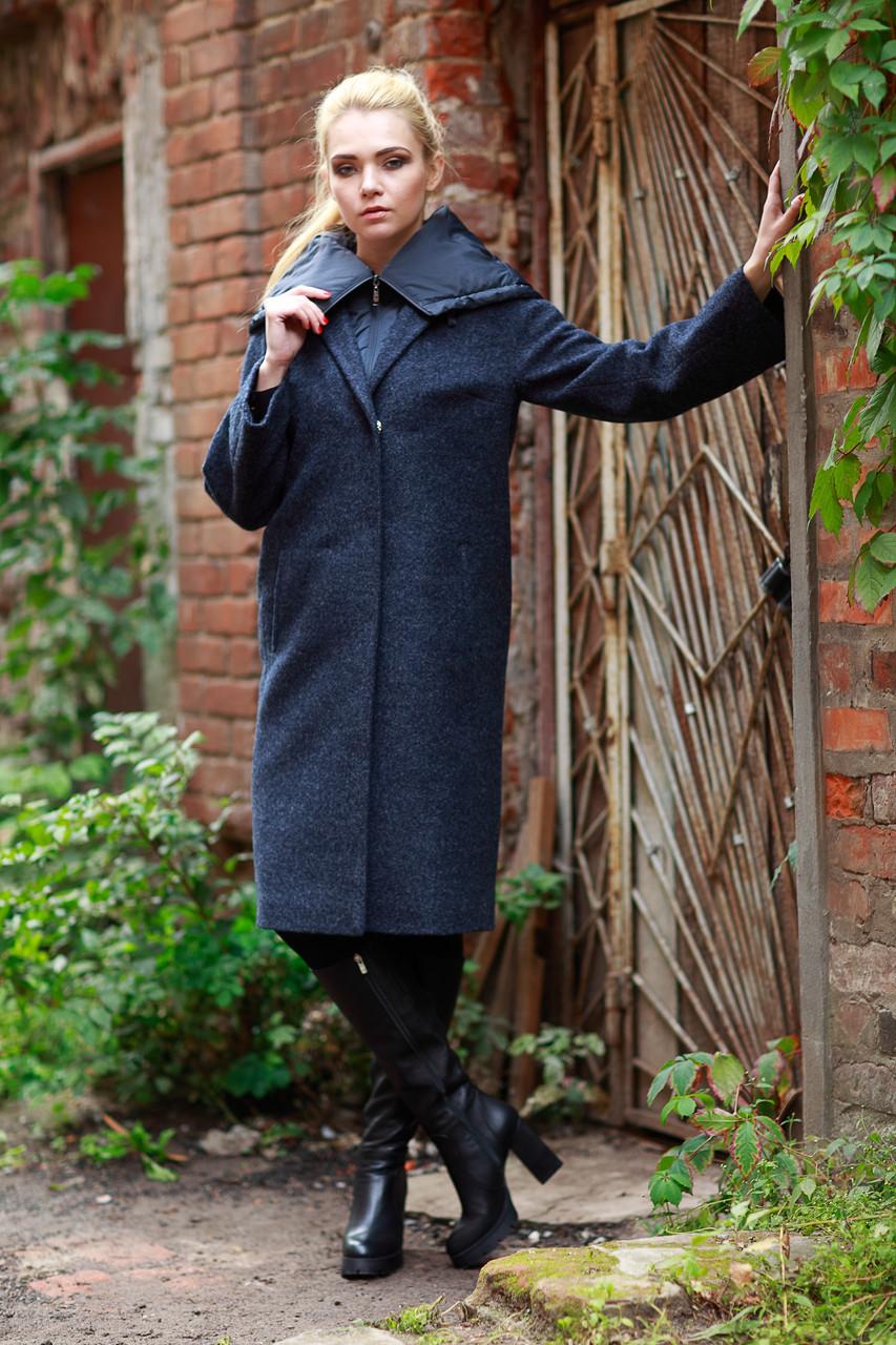 """Весеннее пальто серо-синего цвета 2в1, ниже колена, размер 42-52 - Интернет - магазин """"MariModa"""" в Киеве"""