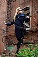 Новая коллекция пальто 2017, темно-синий цвет, шерсть-букле 100%,размер 42-52