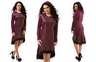Модное трикотажное бордовое  платье со вставками из эко-кожи, отделка кружевом, батал. Арт-9824/47