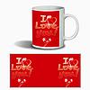 """Керамическая чашка к 8 Марта """"I Love you!"""" - с цветочками"""