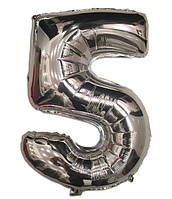 Воздушный шар фольгированный серебряный, цифра 5