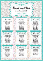 План (схема) рассадки гостей на свадьбе в стиле Тиффани