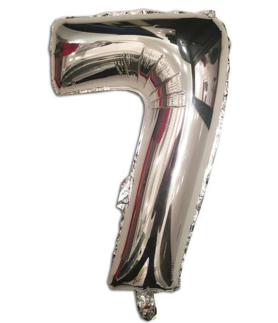 Воздушный шар фольгированный серебряный, цифра 7