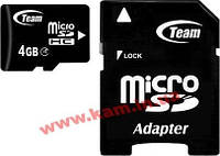 Карта памяти microSDHC 4 Gb class 4 Team + SD adapter (TUSDH4GCL403)