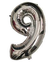 Воздушный шар фольгированный серебряный, цифра 9