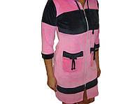 Халат велюровый женский розовый