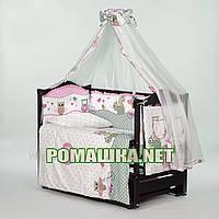 Комплект постельного белья в детскую кроватку для новорожденного 8 элементов с одеялом 120х90 см 3381 Розовый